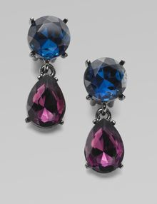 Oscar de la Renta Faceted Crystal Drop Earrings - Lyst