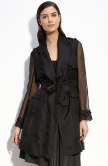 St. John Evening Silk Organza Trench Coat - Lyst