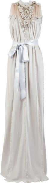 Lanvin Washed Silk-satin Jeweled Gown - Lyst