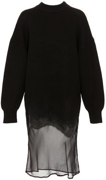 Alexander Wang Silk Chiffon Paneled Wool Dress - Lyst