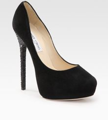 Jimmy Choo Crystal-heel Suede Pumps - Lyst