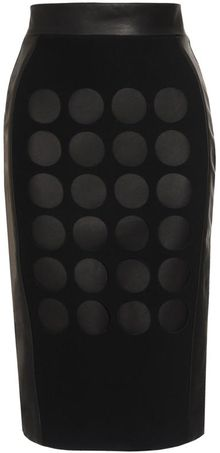 David Koma Laser Cut Leather and Wool Pencil Skirt - Lyst