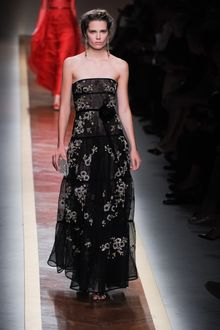 Valentino Spring 2012 Strapless Black Lace Maxi Dress With Floral Applique - Lyst