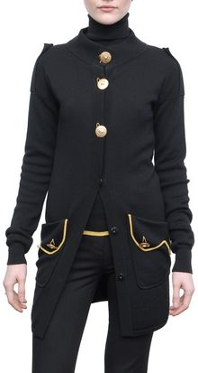 Versace Wool Cardigan Sweater with Gold Button and Yellow Details - Lyst