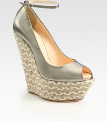 Giuseppe Zanotti Metallic Leather Espadrille Wedge Sandals - Lyst