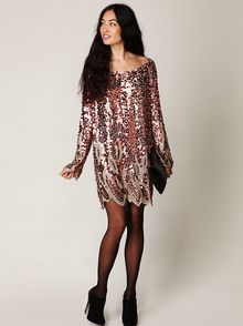 Free People Long Sleeve Pailettes Dress - Lyst