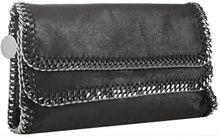 Stella McCartney Black Metallic Faux Leather Falabella Chain Detail Clutch - Lyst