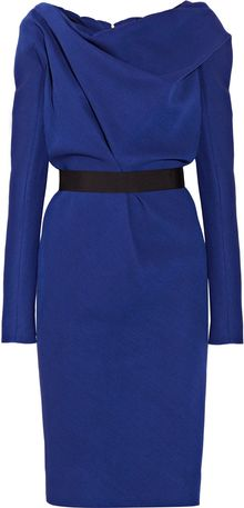 Victoria Beckham Draped Wool and Silk-blend Crepe Dress - Lyst