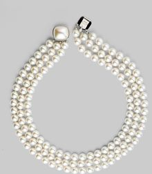Majorica White Pearl Three-Row Necklace - Lyst