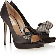 Valentino Bow-embellished Satin Peep-toe Pumps - Lyst