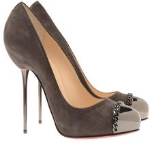 Christian Louboutin 'Metalipp' Suede and Gunmetal Pin Heels - Lyst