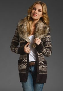 Juicy Couture Cardigan with Removable Faux Fur Collar - Lyst