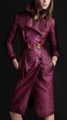 Burberry Prorsum Grainy Leather Trench Coat - Lyst