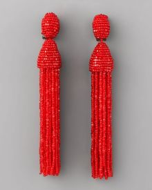 Oscar de la Renta Beaded Tassel Earrings, Red - Lyst