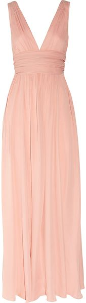 Halston Heritage Pleated Silk-georgette Gown - Lyst