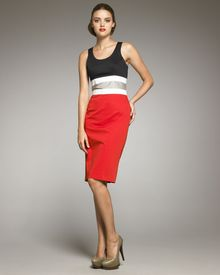 Carolina Herrera Colorblock-waist Dress - Lyst