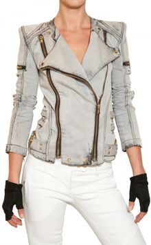 Balmain Washed Denim Biker Jacket - Lyst