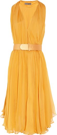 Alexander McQueen Belted Silk-Chiffon Dress - Lyst
