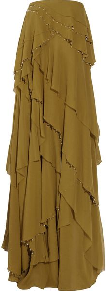 By Malene Birger Tiered Chiffon Maxi Dress - Lyst