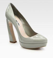 Miu Miu Patent Leather Flareheel Platform Pumps - Lyst