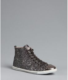 Miu Miu Anthracite Glitter Studded Cap Toe Hi-top Sneakers - Lyst