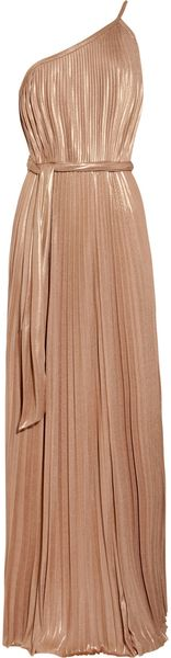 Halston Heritage Pleated Lamé Maxi Dress - Lyst