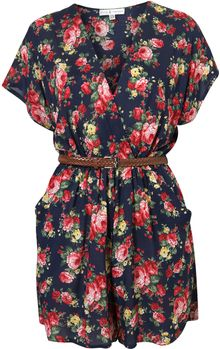 Topshop Floral V Playsuit By Rare - Lyst
