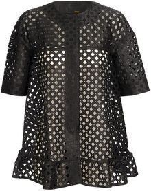 Fendi Laser Cut Cotton-silk Lattice Jacket - Lyst