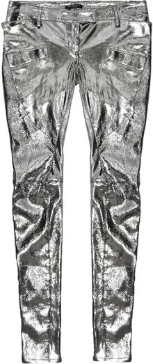 Balmain Metallic Leather Pants - Lyst