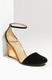 Gucci Ankle Strap Peep Toe Wedge - Lyst