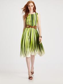 Oscar de la Renta Silk Palm Print Dress - Lyst