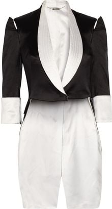 Alexander McQueen Open-shoulder Silk-satin Tailcoat - Lyst