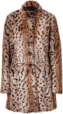 Steffen Schraut Brown Leo Print Fur Coat - Lyst