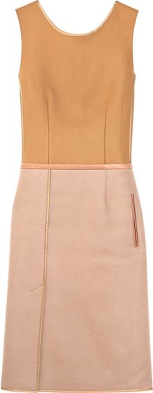 Chloé Leather-trimmed Wool-felt Shift Dress - Lyst
