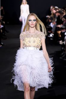 Prabal Gurung Fall 2012 Full Feather Trimmed Sheer Skirt In White - Lyst