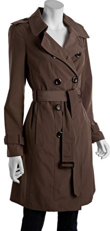 Calvin Klein Truffle Brown Pleated Back Water Resistant Trench - Lyst