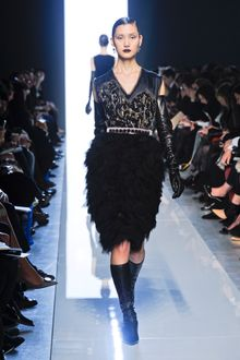 Bottega Veneta Fall 2012 Black Cocktail Dress with Feathered Skirt and Chiffon Sleeveless Bodice with Abstract Applique - Lyst