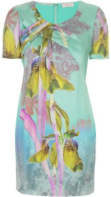 Matthew Williamson Iris Silk Twisted Shift Dress - Lyst