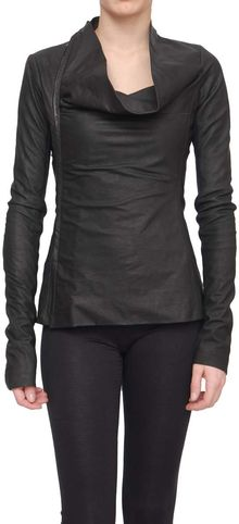 Rick Owens Leather Jacket with Decentralized Zip - Lyst