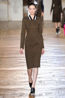 Stella McCartney Fall 2012 Knee-Length Hourglass Shaped Formal Brown Melange Dress with Knitted Collar  - Lyst