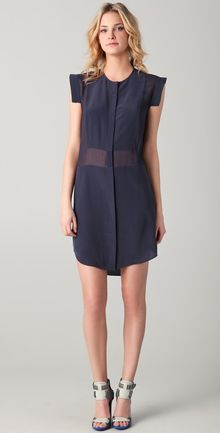 T By Alexander Wang Silk Combo Shirtdress - Lyst