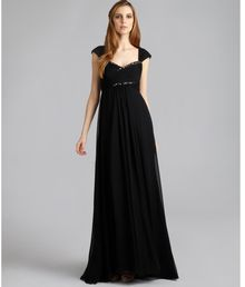 Notte By Marchesa Black Silk Beaded Empire Waist Gown - Lyst