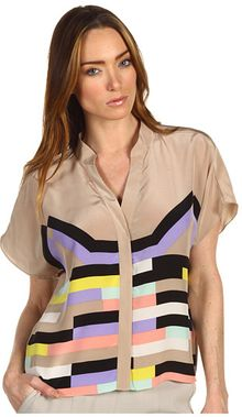 Tibi Draped Silk Blouse - Lyst