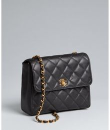 Chanel Black Caviar Leather Chain Handle Vintage Shoulder Bag - Lyst