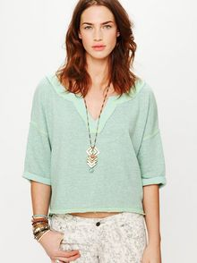 Free People Speckled Split Neck Pullover - Lyst