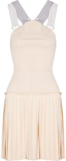 Victoria Beckham Pleated Cottonblend Crepe Mini Dress - Lyst