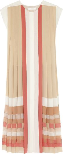 Chloé Pleated Sikgeorgette Dress - Lyst