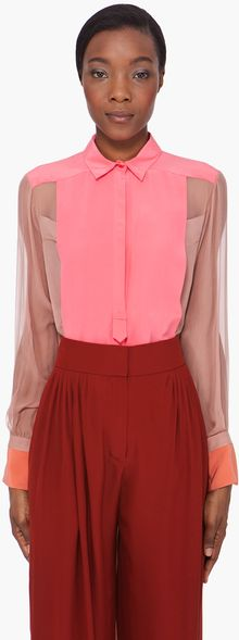 Chloé Pink Sheer Sleeve Silk Blouse - Lyst