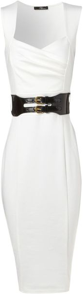 Jane Norman Cream Ponti Sleeveless Dress - Lyst