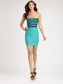 Hervé Léger Strapless Striped Bandage Dress - Lyst